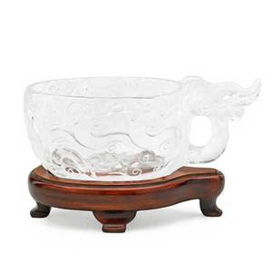 Chinese carved rock crystal libation cup oval form with cloud design on wood base 20th c 2 14 x 5 12