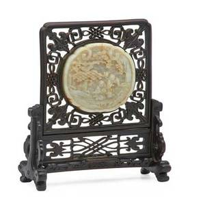 Chinese carved jade table screen circular jade plaque with figures in a landscape inset in hardwood frame 19th c 10 12 x 9 12