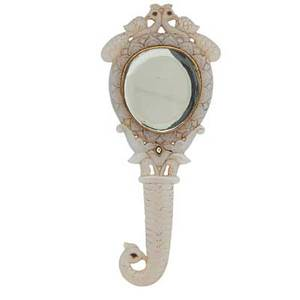 Mughal style carved mirror gem and paste set white jade with peacock motif 20th c 8 14 x 3 12
