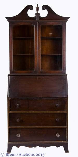 Mahogany Glass Front Secretary