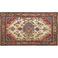 Oriental area rug gorevan family with all over floral design and central medallion on ivory ground 20th c 114 x 77