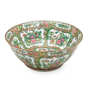 Chinese export rose medallion porcelain punch bowl 19th c 5 34 x 14 12 dia
