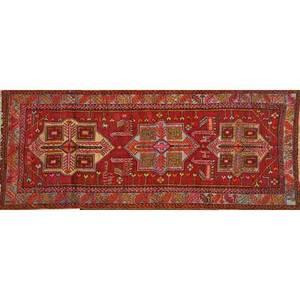Caucasian shirvan oriental rug geometric design on red ground mid 20th c 46 x 101