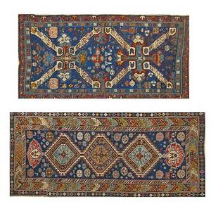 Caucasian oriental rugs two with geometric design on blue ground 20th c larger 80 x 43