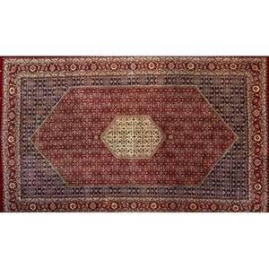 Bidjar oriental room size rug all over floral design with large central medallion 20th c 128 x 208