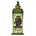 J  l lobmeyr enameled glass covered jar depicting a couple in renaissance dress ca 1880 marked original paper label 11 12 x 4 12