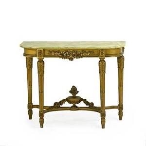 Louis xvi style giltwood console and pier mirror the mirror carved with floral garlands the console with dshaped onyx top leaf carved round tapered stop fluted legs early 20th c 94 12 x 40 x