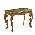 German rococo beechwood console veined marble top above a shell carved apron raised carved supports mid 18th c 33 x 43 12 x 24