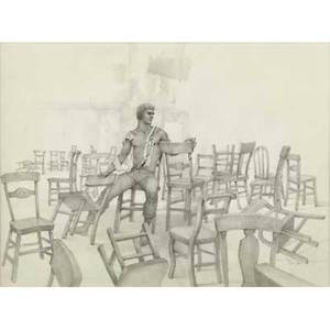 John b lear american 19102008 graphite on paper of a male figure surrounded by chairs 19821986 framed signed and dated 11 34 x 15 34 sight
