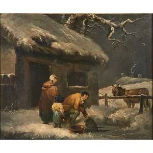 Continental winter landscape oil on canvas of family fetching water through the ice 19th c framed 24 58 x 29 58