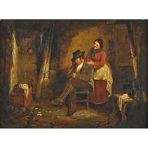 Erskine nicol english 18251904 oil on canvas the crofter and his wife 1858 framed signed and dated 11 18 x 15