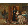 Edward charles barnes british 18321893 oil on canvas of a renaissance era domestic scene 1868 framed signed and dated 44 14 x 56