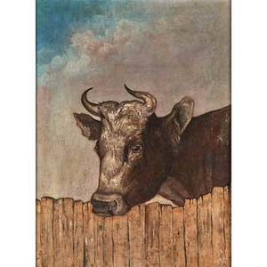 American animal portrait oil on canvas of a cow on a farm in staten island ny late 19th c framed 35 12 x 27 12