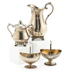 American or english silver and silver plate four items 18th20th c dominick  haff swing handled sterling sugar bowl baldwin  co coin silver footed water pitcher robert hennell swing handled s