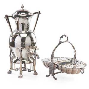 Aesthetic movement silver plate two items 19th20th c webster hot water kettle and a bun warmer webster marked taller 17