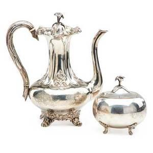 Swedish silver coffee pot and covered sugar bowl three crowns mark ca 1900 31 ot pot 10 12 x 9