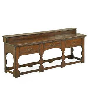 English william and mary dresser base oak with three drawers and stretcher base 18th c 35 x 84 x 23 12