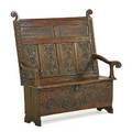 English william and mary carved settee oak with carved panels hinged seat 18th c 56 34 x 52 x 29