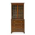 George iv bureau bookcase mahogany with pair of glazed covered doors full desk interior over three drawers bracket feet ca 1830 87 12 x 44 x 21 34