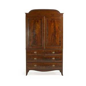 George iv linen press mahogany with arched pediment above pair of cupboard doors opening to sliding shelves above two short and two long drawers shaped bracket feet ca 1830 84 12 x 49 12 x 22