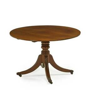 Regency english breakfast table mahogany with circular top saber legs on casters 19th c 29 34 x 46 dia