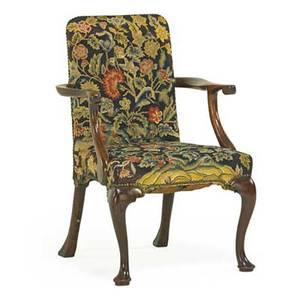 George ii open armchair walnut frame needlework upholstery on pad feet mid 18th c 35 x 24 x 19