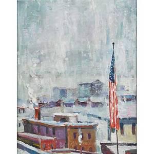 Joseph barrett american b 1936 oil on canvas lambertville flag 2005 framed signed and dated 18 x 14 14
