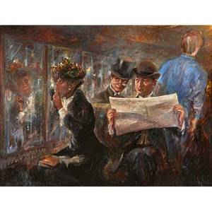 Henricus gerardus de korte dutch b 1941 oil on canvas of two men admiring a young woman on a train framed signed 28 x 36