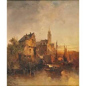 Heinrich hiller german 18461912 oil on canvas harbor scene framed signed 19 34 x 15 34