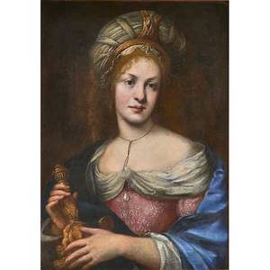 Continental portrait oil on canvas of young woman with formal headdress 18th19th c framed 28 14 x 20 14