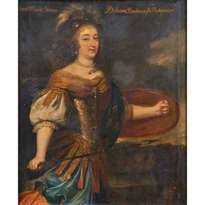 French portrait oil on canvas of anne marie louise d orleans duchess of montpensier in armor 18th c framed 35 12 x 19