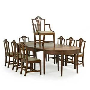 Sheraton three section dining table and chairs all in mahogany early 19th c the eight chairs with pierced vasiform backsplats upholstered seats square tapered legs 36 x 22 x 19 12