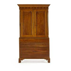 American chippendale linen press twopiece in cherry with pair of cupboard doors opening to shelves above four graduated drawers bracket feet 19th c 85 12 x 48 x 21 34