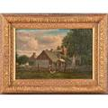 William henry snyder american 18291910 oil on board of a farm yard 1871 framed signed and dated 10 38 x 15 12