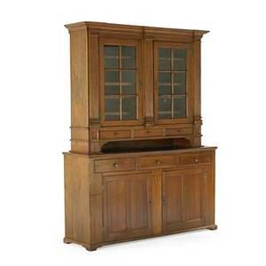 Pennsylvania german cupboard walnut with glass door top and spoon holder shelves on bracket feet 19th c 89 x 65 x 17