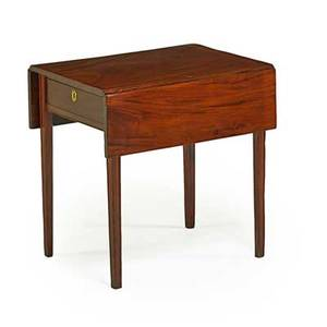 Federal pembroke table mahogany with rectangular top and square tapered legs 19th c two drop leaves 28 34 x 21 x 28 34