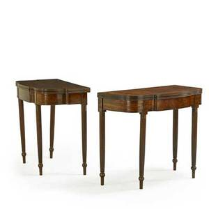 Pair of philadelphia sheraton card tables mahogany fluted round legs early 19th c 29 12 x 36 12 x 17