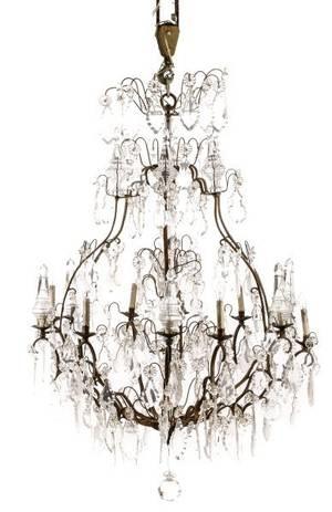 Palatial Bronze  Crystal 12 Light Chandelier