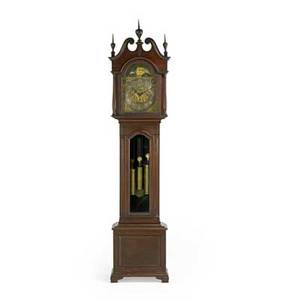 Seth thomas chippendale style grandfather clock mahogany case time and strike eight day movement three weights early 20th c 96 34 x 23 12 x 14