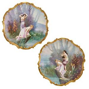 Pair of limoges porcelain chargers nude maidens by the water ca 1900 signed e furlaud and marked 16 dia
