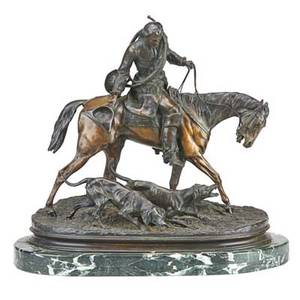 After pierre jules mene french 18101879 bronze sculpture of a hunter on horseback on marble base signed 18 x 19 x 9