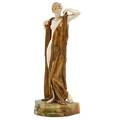 Continental gilt bronze and ivory sculpture draped nude on onyx base early 20th c signed e secer 8