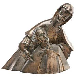 Numa patlagean american 18881961 silver plated bronze sculpture of a nun and a friar signed 15 12 x 19 x 13