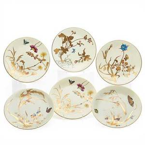 Set of minton porcelain plates six with gilt foliate and butterfly decoration early 20th c marked 9 34 dia