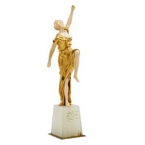 Georges omerth french 18951925 gilt bronze and ivory sculpture of a dancer on onyx base signed omerth stamped 6903 10 14