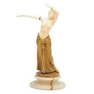 Charles arthur muller french b 1868 gilt bronze and ivory sculpture of a dancer on onyx base signed ch muller impressed 47 10 12