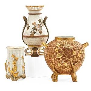 Royal worcester porcelain three items with molded basket weave decoration late 19th c all marked tallest 9 34