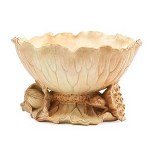 Royal worcester porcelain bowl lotus form with gilt decoration ca 1888 marked 7 x 11 12 dia