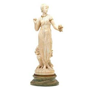 Continental ivory figure woman holding a bouquet of flowers with gold necklace and armband on marble base 19th c signed c delacour ivory only 11 12