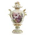 Kpm porcelain covered urn two pieces handpainted with floral reserves gilt decoration 19th c artist signed aulich marked 22